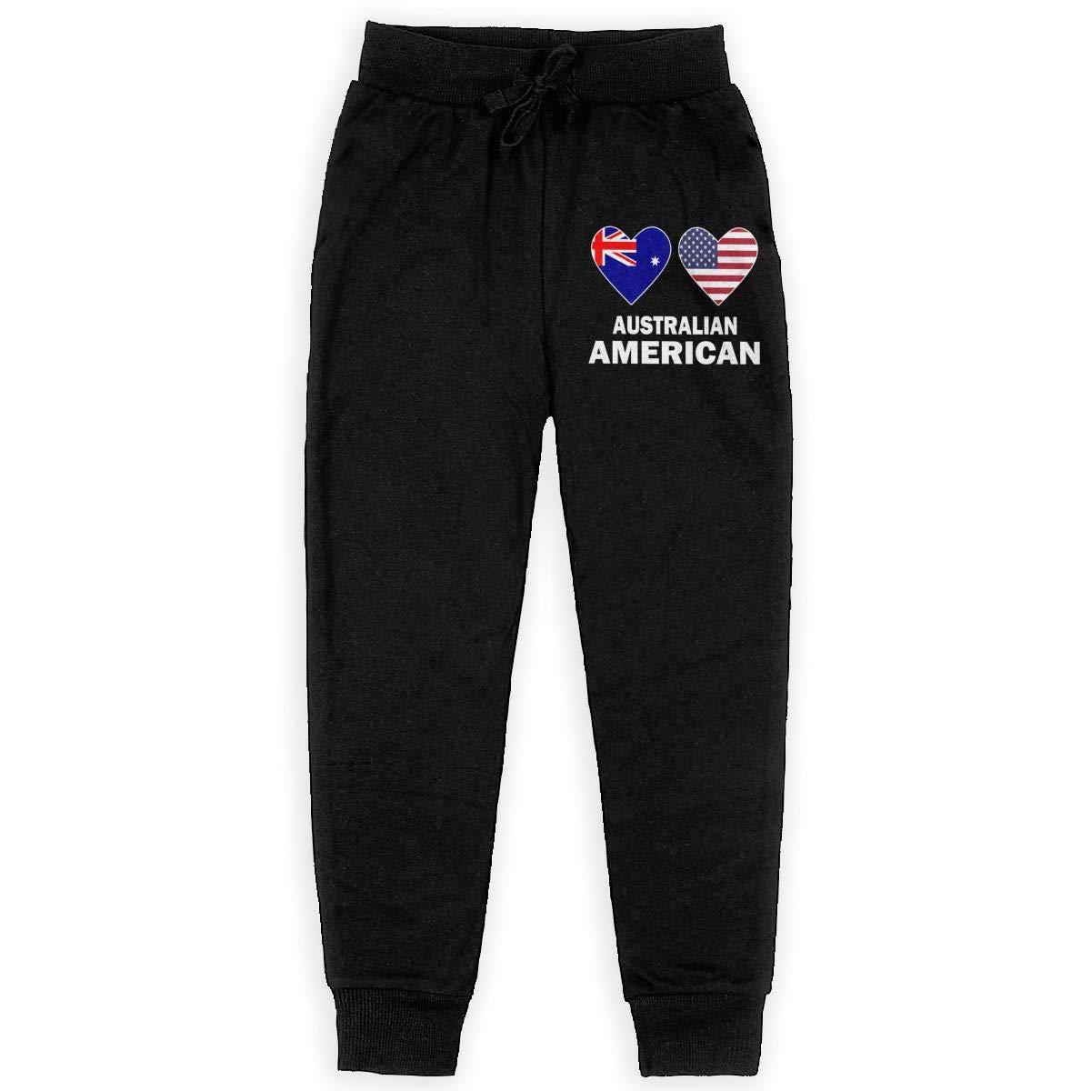 WYZVK22 Australian American Hearts Soft//Cozy Sweatpants Youth Jogger Pants Teenager Girls