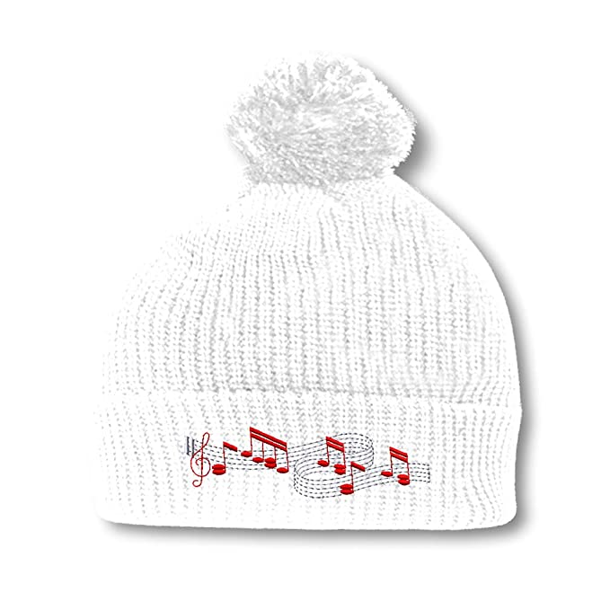 75ff04b10ab Speedy Pros Music Notes Embroidery Embroidered Pom Pom Beanie Skully Hat Cap  White