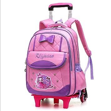 BTGenMai Mochila Escolar con Ruedas Trolley School Bags Backpack Escaleras para Subir con Seis Ruedas para niñas,A: Amazon.es: Hogar