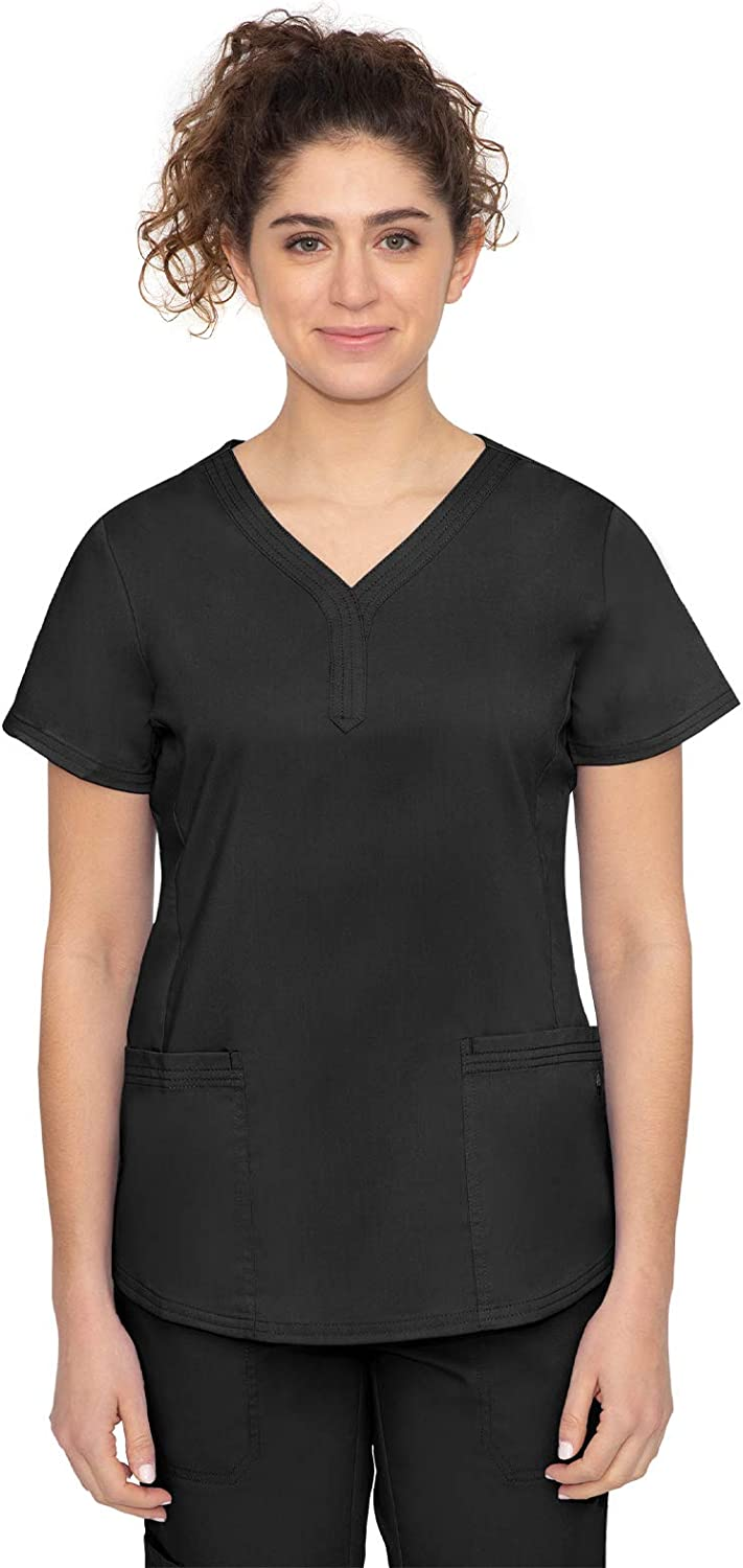 healing hands Purple Label Women's Jane Top – Two Pocket Y-Neck Scrub Top: Clothing