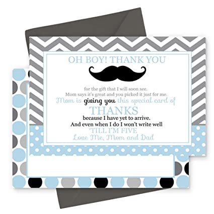Amazon Com 15 Mustache Thank You Cards With Grey Envelopes