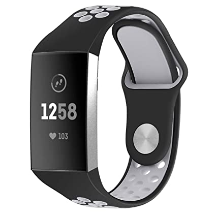 Compatible Fitbit Charge 3 Band Strap,Silicone Breathable Adjustable  Replacement Sport Strap Accessory Band Fitbit Charge 3 Smartwatch Fitness