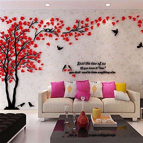 Haihuic Calcomanías de Pared 3D Árboles y pájaros Etiqueta de la Pared de DIY Ajuste de TV Contexto del sofá de la Pared para la decoración del hogar Living Room Nursery 1m x 2m (Rojo)