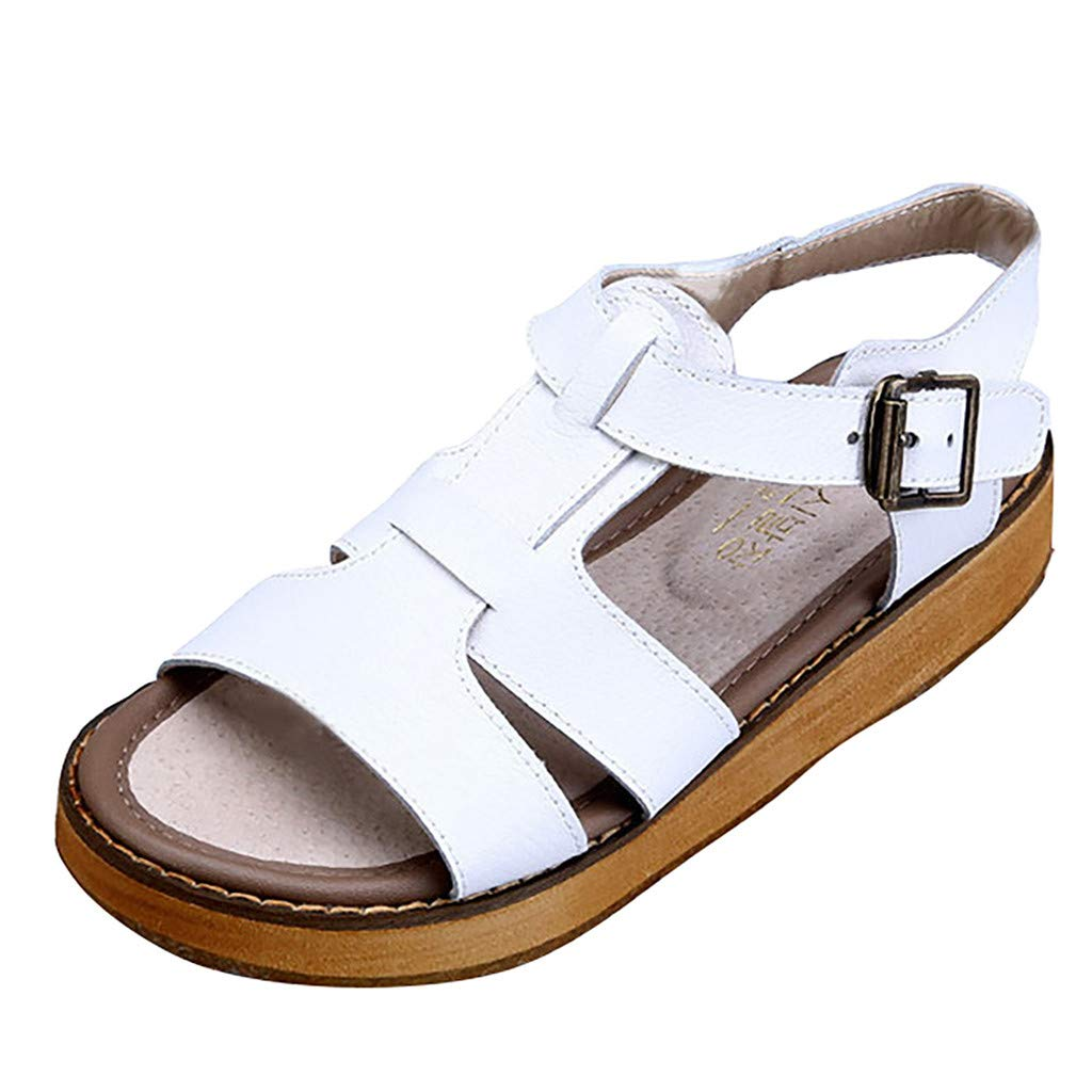 Women's Retro Cork Flat Bottom Roman Sandals Retro PU Leather Open Toe Slingback Sandal Comfy Ankle Strap Buckle Outdoor Shoes (White, 9.5 M US) by Swiusd