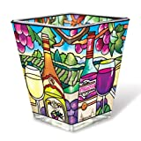 Amia 41089 Hand Painted Glass V-Shaped Petite Votive Holder, Wine Country Design, 3-Inch High