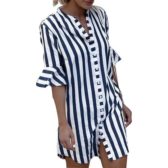 Moda Camiseta Para Mujer Blusa a Rayas Elegante Media Manga T-Shirt con Botones Casual