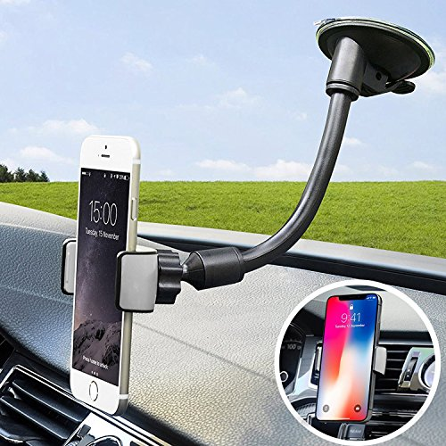Price comparison product image Car Phone Mount, X-AUTO 2-in-1 Universal Cell Phone Holder Car Air Vent Holder Windshield Mount with Flexible Arm for iPhone 7 Plus,8 Plus,6 Plus,X,7,6S,6,Samsung Galaxy Note S6 S7 and More … (grey)