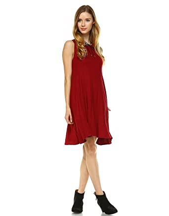 26f9e9a589da0 TODAY SHOWROOM Above Knee Length Trendy Tank Top Casual Summer Dress with  Cute Side Pockets (