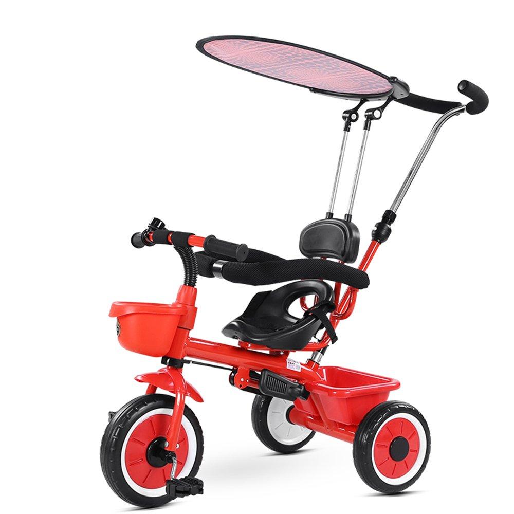 YANGFEI 子ども用自転車 4-in-1ベビーベビーカーと子供用トライクブルーレッドホワイトイエロー 212歳 B07DWRPBM1 赤 赤