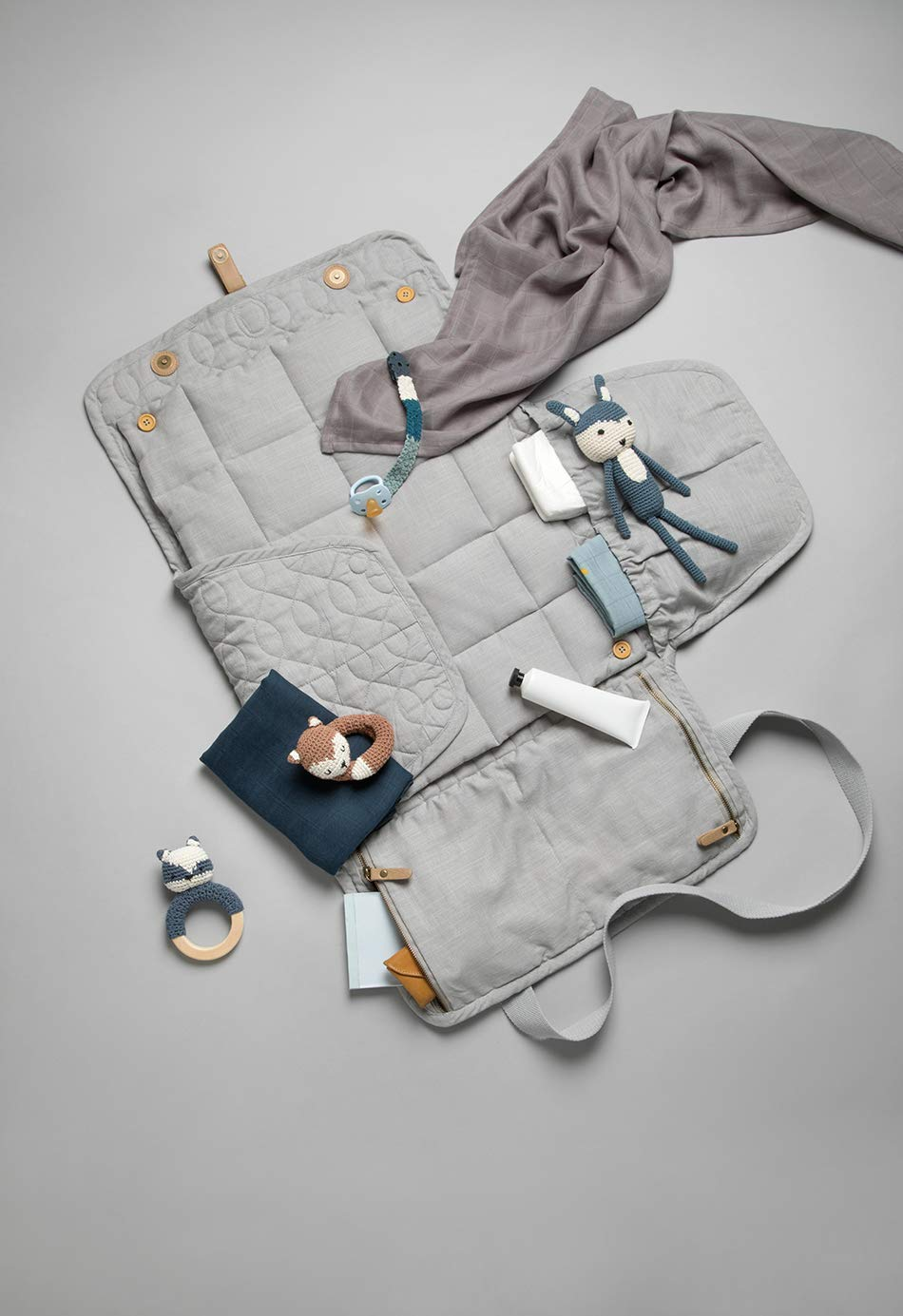 Diaper Bag Farbe:Elephantengrau Sebra Interior