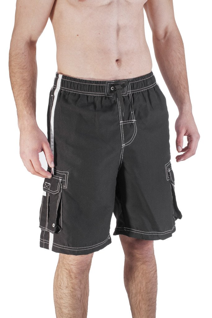 Mens Long Swim Trunk With Cargo Pockets (3X Large, Black)