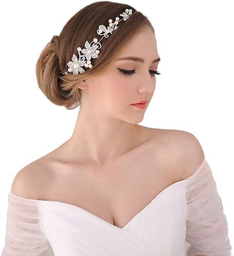 Fashion Golden Wedding Bridal Pearl Flower Leave Hair Sticks Crystal Hair Pin FG