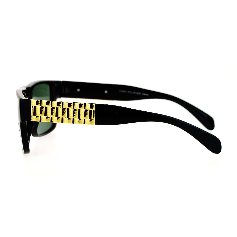 SA106 Mens Glass Lens Metal Chain Arm Flat Top Rectangular Sunglasses