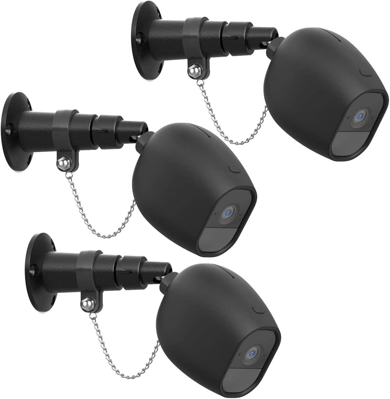 HOLACA Security Outdoor Mount for Arlo pro Arlo pro 2 with Anti-Theft Chain,Silicone Protective Case-Extra Protection for Your Arlo Wireless Home Security Camera (3 Pack, Black)