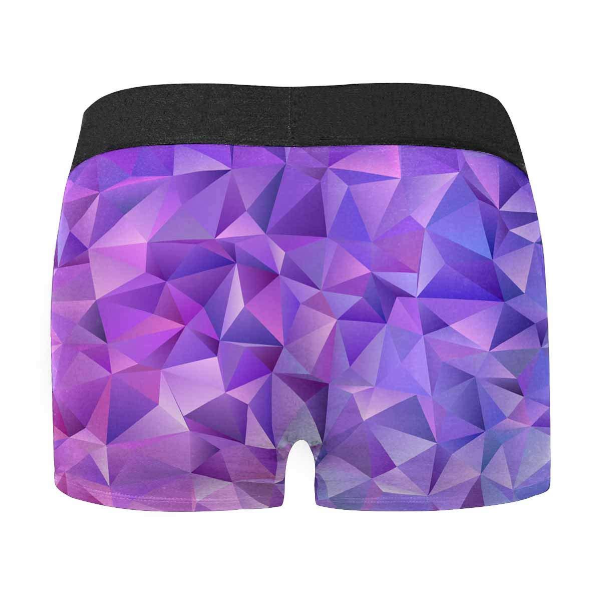 INTERESTPRINT Mens Boxer Briefs Purple Geometric Pattern XS-3XL