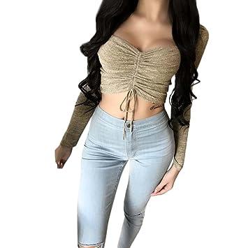 LILICAT® Camisetas Cortas Sexy para Mujer, Blusa del Vendaje ...