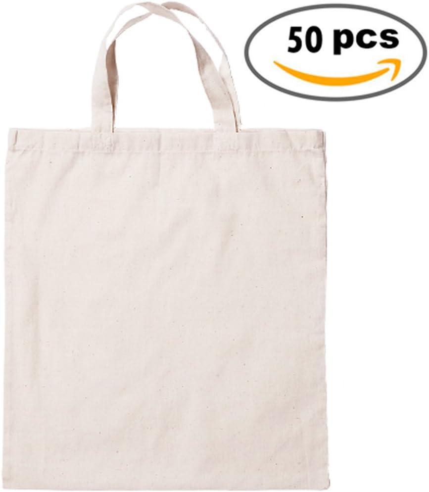 DISOK Lote de 50 Bolsas 100% Algodón Natural Medidas: 41 x 37 cm ...