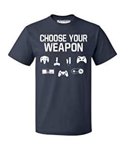 P&B Choose Your Weapon Gamer Funny Men's T-Shirt, M, Navy