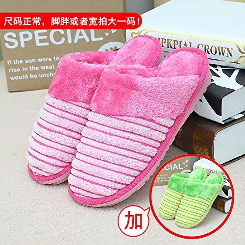 Home habuji caldo cotone pantofole uomini e donne confezione con il trampolino indoor antiscivolo per scarpe, 37/38 + 37/38, rosa + verde