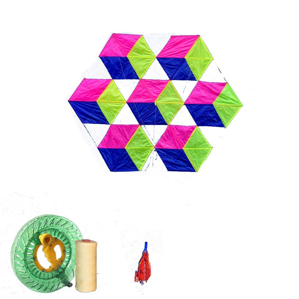 凧,カイトフライング 柔らかい傘布6面ルービックキューブ大きな大人の凧、飛ぶのは簡単風(リール付き) 屋外のおもちゃを飛ばすのが簡単 (色 : E) B07QVPFRN5 H h  H h
