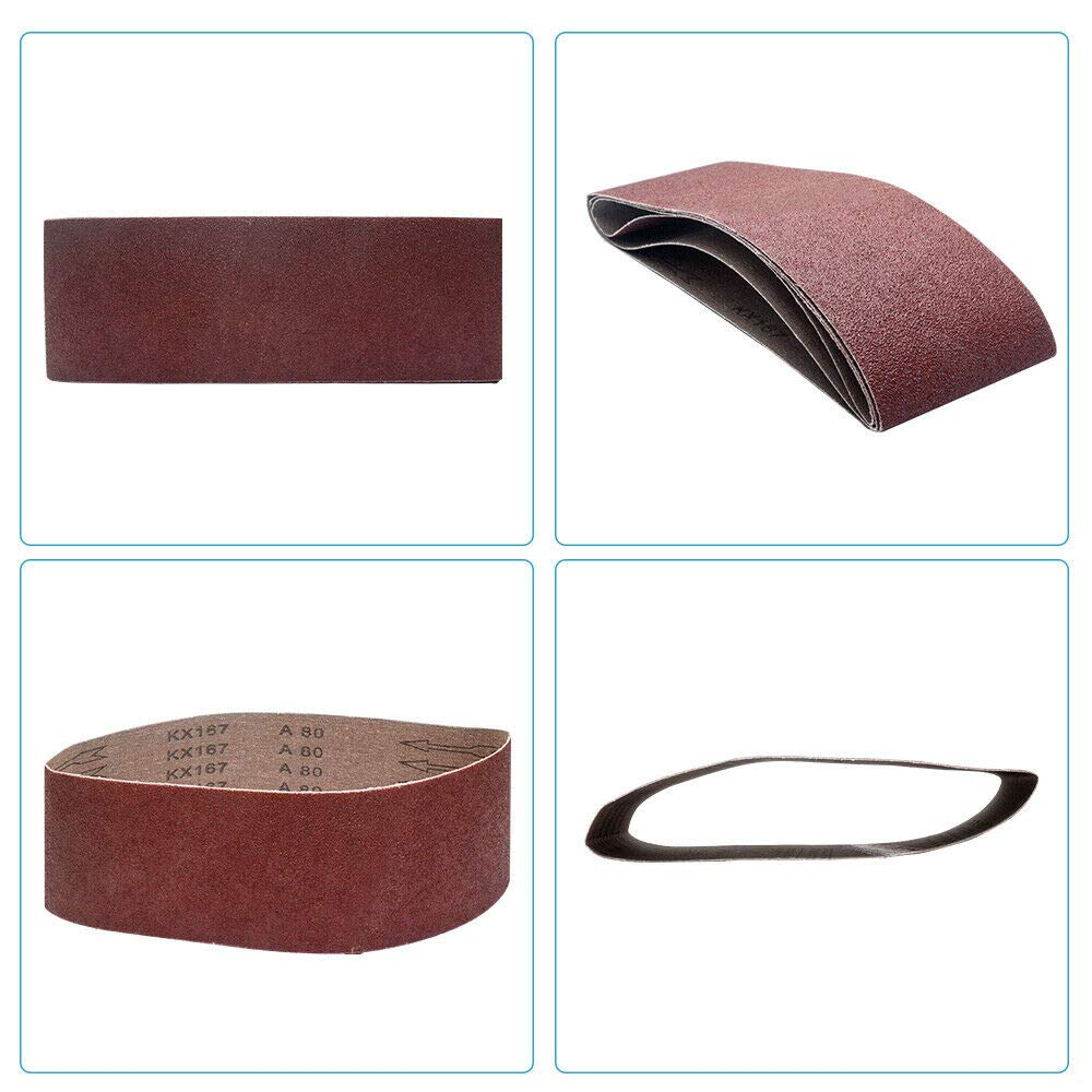 BE-TOOL 5 bandas de lijado de /óxido de aluminio para lijadora de cintur/ón pulido de metal carpinter/ía