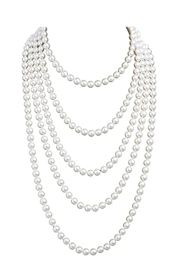 a6bb44d2d Amazon.com: 1920s Pearls Necklace Gatsby Accessories Vintage Costume Jewelry  Faux Ivory Pearl Cream Long Necklace for Women (1A-White-1): Clothing