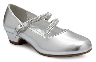8f1369fe4095 Image Unavailable. Image not available for. Color  OLIVIA K Girls Kitten  Heels Mary Jane Shoes - Round Toe with Rhinestone Enclosure