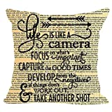 """Retro Newspaper Life is Like A Camera Office Quote Cotton Linen Square Throw Waist Pillow Case Decorative Cushion Cover Sofa 18""""x 18"""" inches 45cm"""