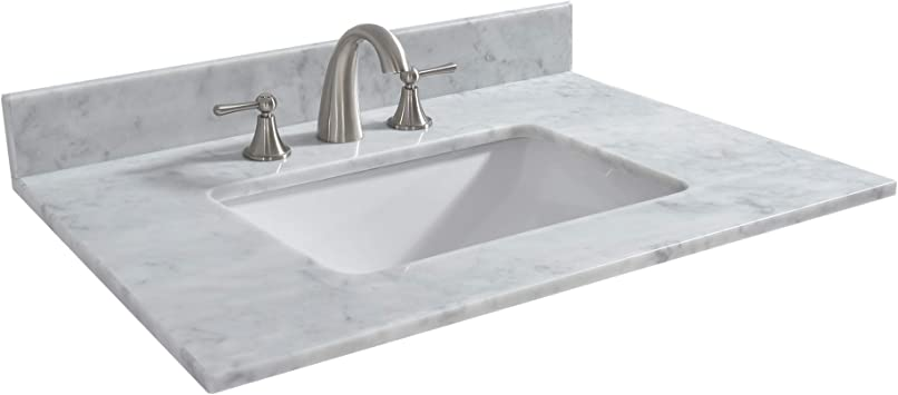 Woodbridge 43 X22 Vanity Top With Under Mount Rectangle Bowl Carra White Natrual Marble Stone 8 Cc Holes Cavt4322 8 43 X22 8 Faucet Spread
