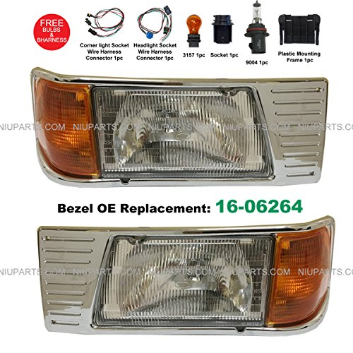 Headlight with Adjusters and Corner Lamp and Chrome Bezel 16-06264- Driver & Passenger Side (Fit: Peterbilt 377)