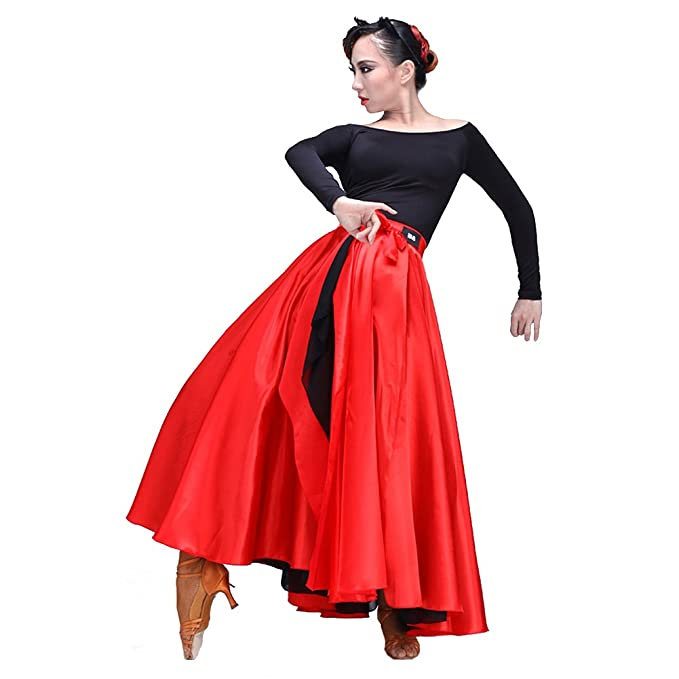 58d69c5bd6c3 DREAMOWL Red Spanish Flamenco Dance Skirt Latin Ballroom Dancing Costume  Satin Gypsy Dress (180 Degree