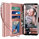 yhe edge - Galaxy S8 Plus Case, LK [Wrist Strap] Luxury PU Leather Wallet Flip Protective Case Cover with Card Slots and Stand for Samsung Galaxy S8 Plus (Rose Gold)