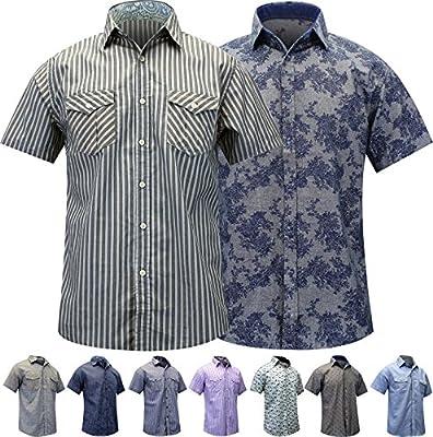 Enimay Men's Casual Button Short Sleeve Cotton Blend Striped Plaid Dress Shirt