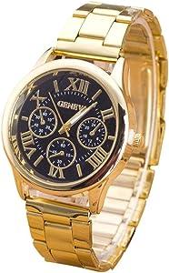 Ruhiku GW Wristwatch, Womens Roman Numerals Quartz Stainless Steel Wrist Watch (Black)