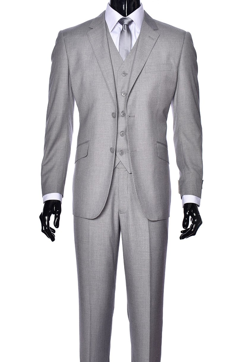 King Formal Wear Elegant Men's Modern Fit Three Piece and Two Piece Two Button Suits - Many Colors (46 Regular, 100% Wool Gray)…