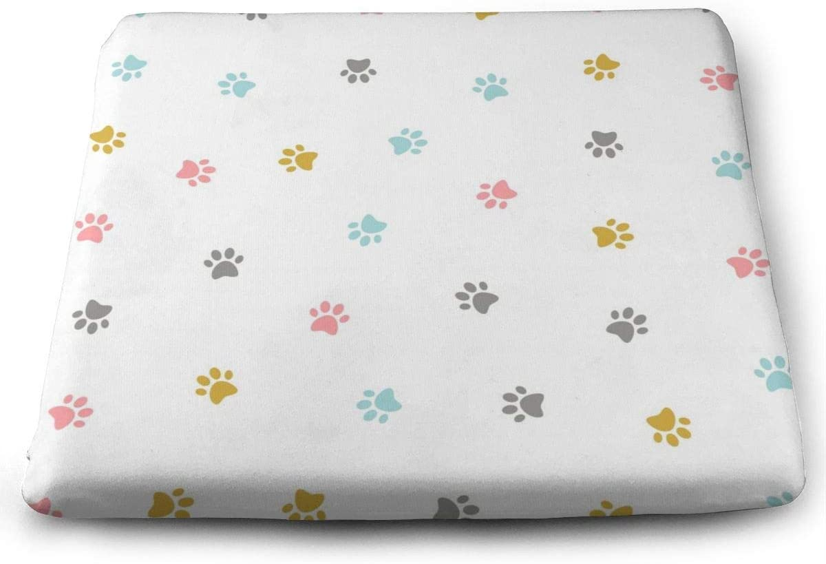 ADGoods Cojín de Asiento Cuadrado Cute Colorful Kitten Pow Seat Cushion Pads Memory Foam Chair Pad Reversible Square Seat Cover Delicate Printing