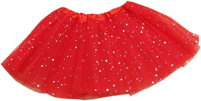 Waboats Girls Tutu Glitter Dance Ballet Triple Layer Soft Tulle Skirts