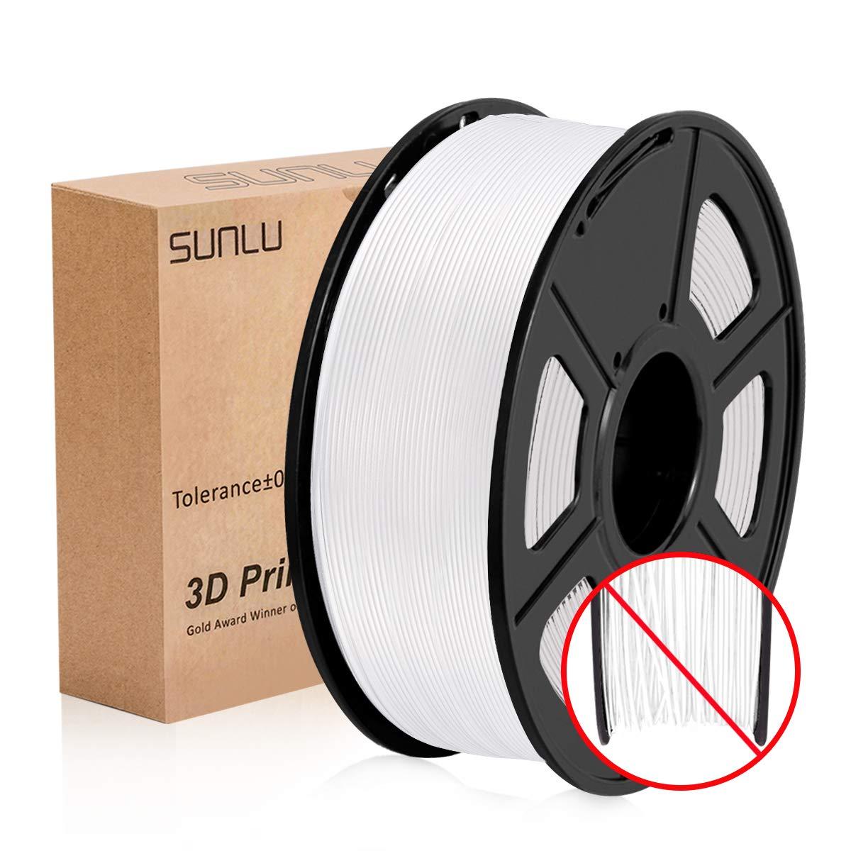 SUNLU Filamento per Stampante 3D, Filamento PLA 1.75, Tangle Free Filamento PLA+, 1KG Puro Bianco