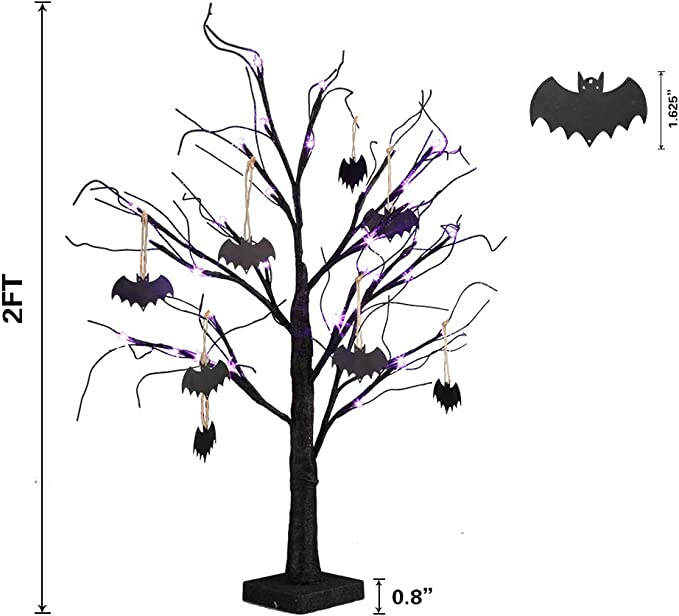 Indoor Home Table Best Halloween Decoration Twinkle Star 24 LED Halloween Lighted Black Tree Battery Operated with 24 DIY Purple Bat