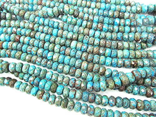 ica Jasper Stone,rainbow blue Round rondelle abacu wheel faceted Loose Beads Necklace 16inch ()