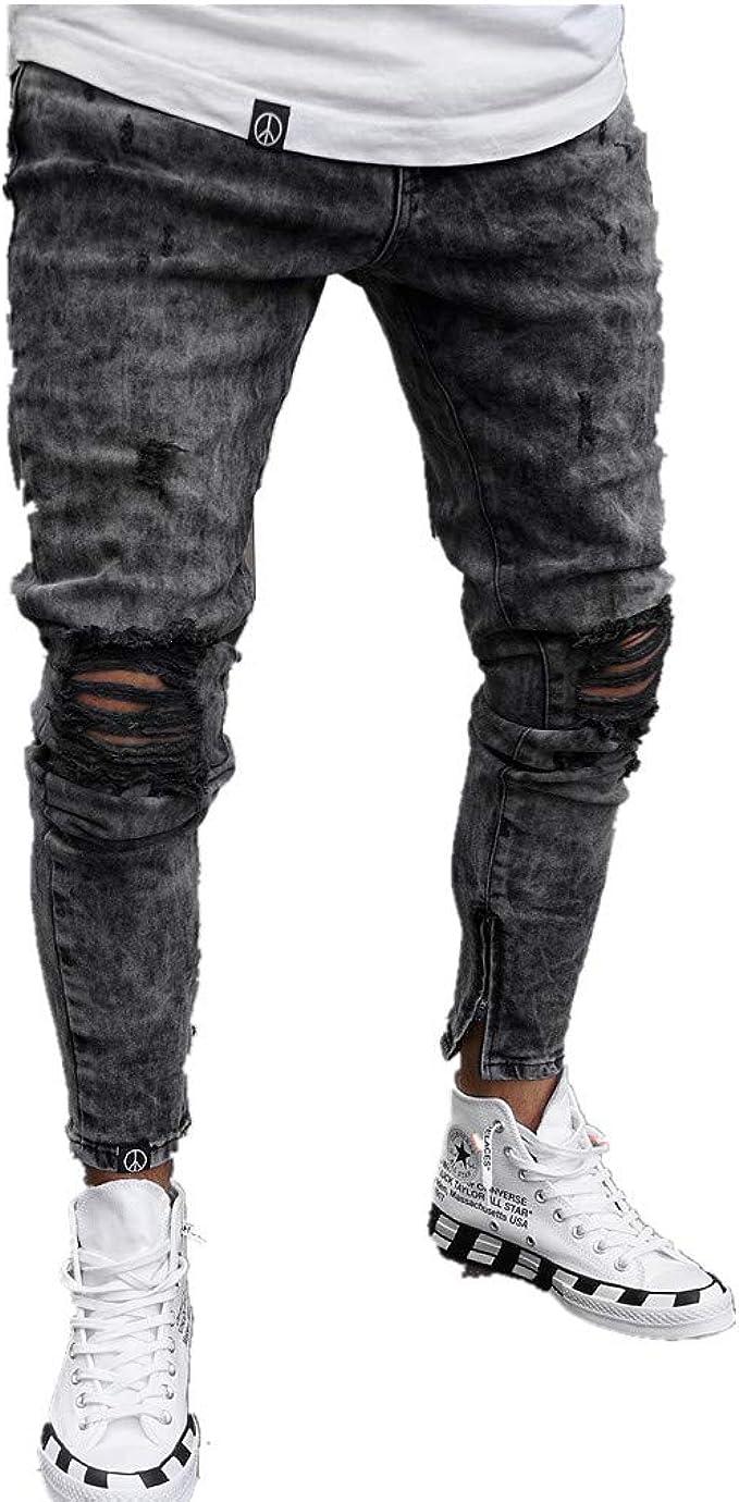ebreo Vertigini motivo  Hibote Uomo Taglie Forti Jeans Strappati, Stretch Moda Vita Media Slim Fit  Skinny Vintage Pantaloni Rotti con Cerniera Casuale Jeans Streetwear S-3XL:  Amazon.it: Abbigliamento