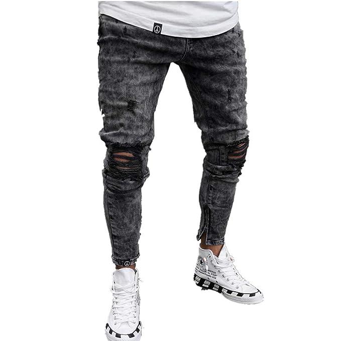 Hibote Skinny Vaqueros Hombre - Slim Pantalones Rotos con ...