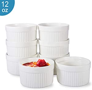 12 OZ Ramekin Bowls 8 PCS,Bakeware Set for Baking and Cooking, Oven Safe Sleek Porcelain White Ramikins for Pudding, Creme Brulee, Custard Cups and Souffle Small instant table tray