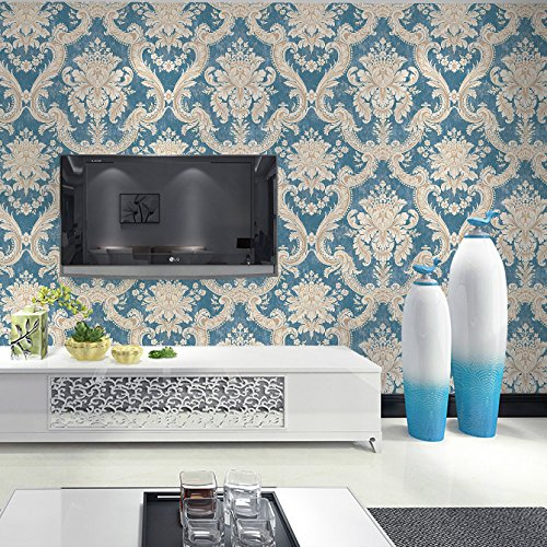 HaokHome DR3015 Non Woven Vintage Italian Damask Wallpaper Blue/Cream Victorian Wall Paper for Living Room Bedroom Murals 20.8