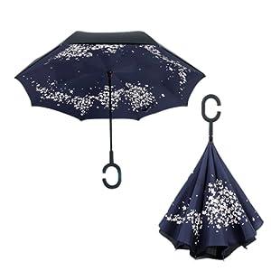 RAIN QUEEN Parapluie Canne Ouverture Inversé Double Toile Imprimé +C Poignée Grand Taille Dimension 105cm pour 2 personnes
