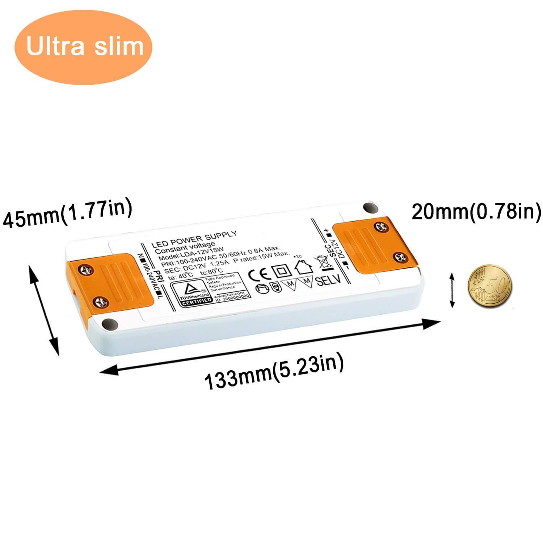 15 W l/ámpara y controlador de tiras de luz 1,25 A Yafido Transformador LED de 230 V a 12 V GU5.3 para bombillas LED MR16 MR11 G4
