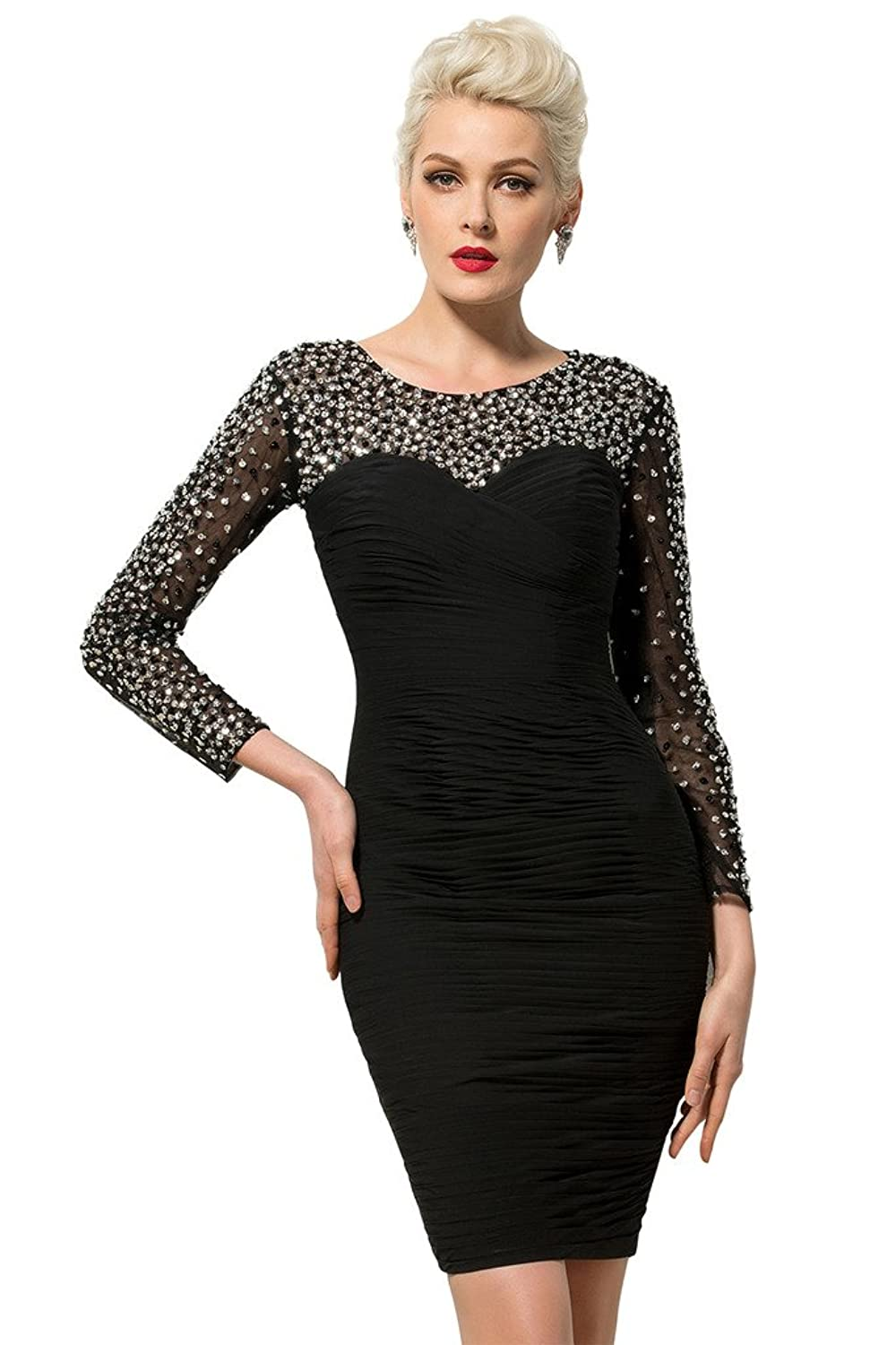 CLOCOLOR Women's Sheath Long Sleeves Beaded Crystals Cocktail Dresses Prom Gowns