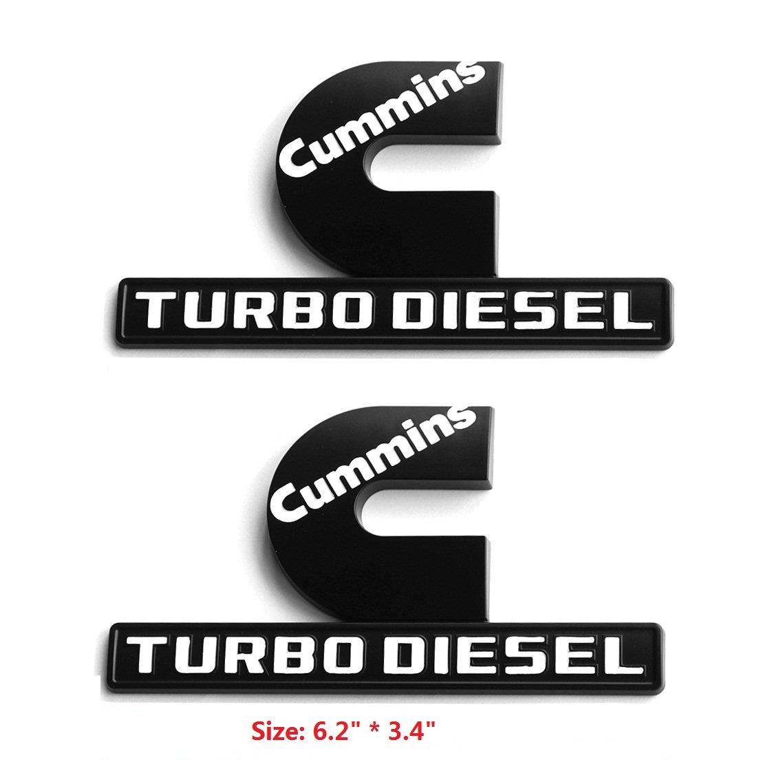 Yoaoo 2x OEM Black Dodge Cummins Turbo Diesel Emblem Badge for RAM 2500 3500 Fender Emblem Matte White 68216931