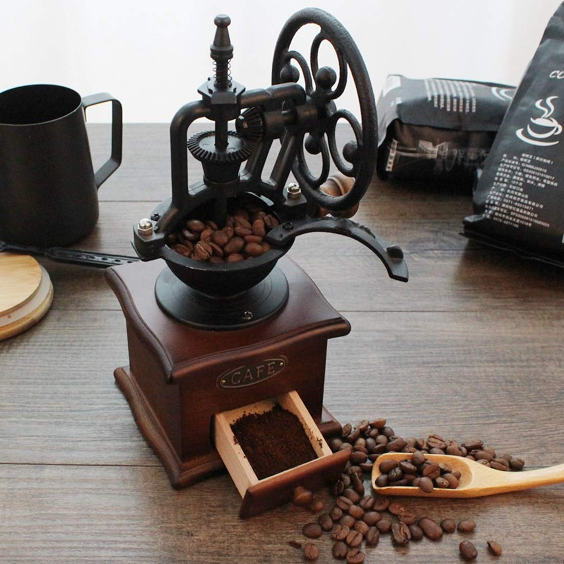 Hungrybubble Molinillo de café Manual de Estilo Vintage clásico con ajustes de molienda y cajón de Captura Máquina de moler a Mano para moler máquina de ...