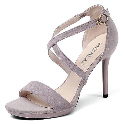 9a132a2aacb94 JITIAN Sandales pour Femmes Talons Hauts Escarpins Bout Ouvert Rond Sandale  Été Chaussures Aiguilles Gris 31